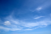Blue sky summer cirrus clouds. Shot on a sunny day in Corralejo, Fuerteventura, Canary Islands, Spain.