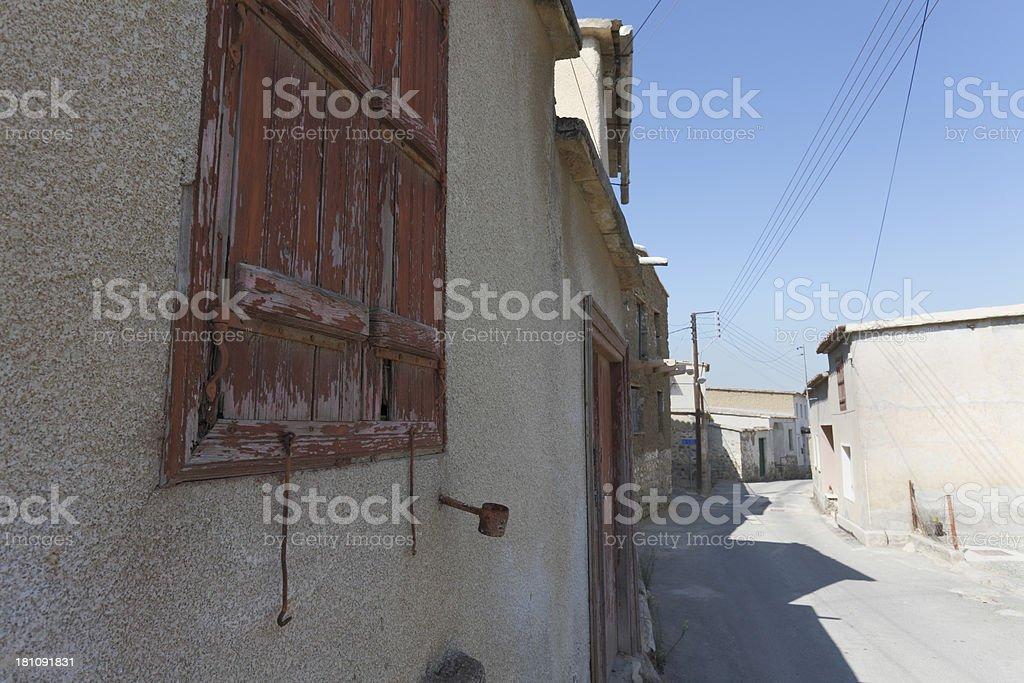 blue sky sunny summer village street  building Cyprus royalty-free stock photo