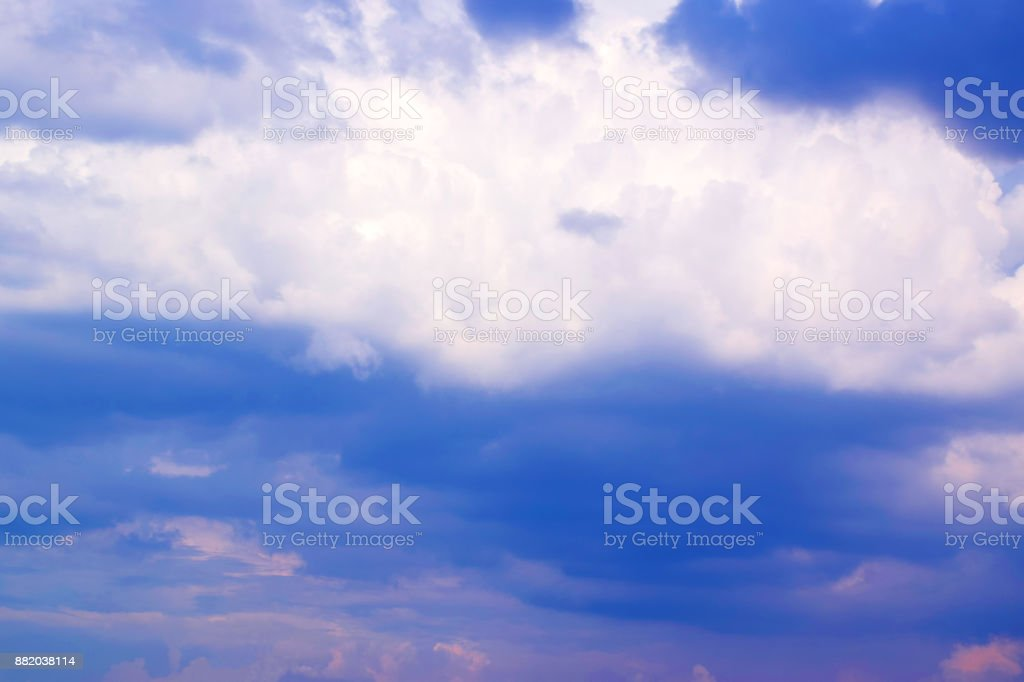 Blue sky sunrise or sunset with white clouds stock photo