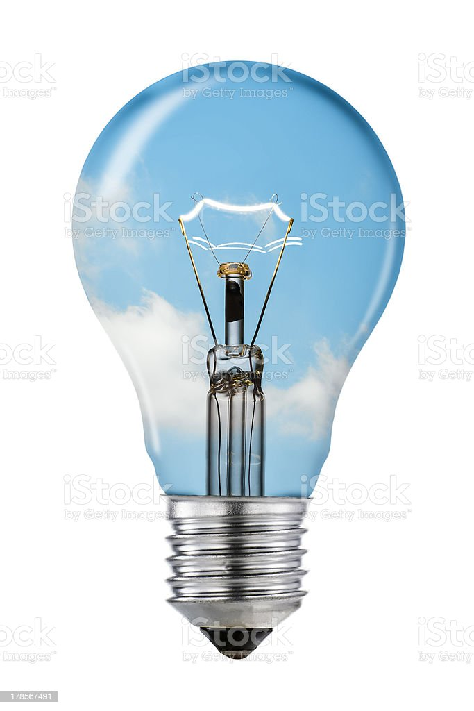 Blue Sky Thinking Lightbulb with Clipping Path stock photo