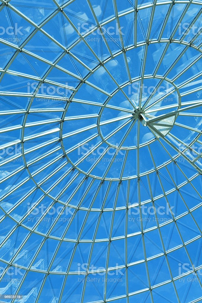 Blue Sky Through a Modern Architecture Round Spiral Window royalty-free stock photo