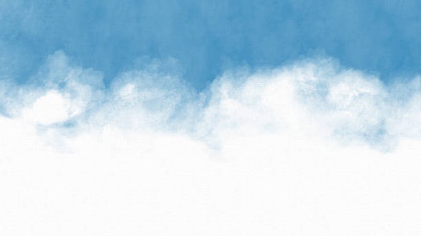 Blue Sky Watercolor Painting - Copy Space stock photo