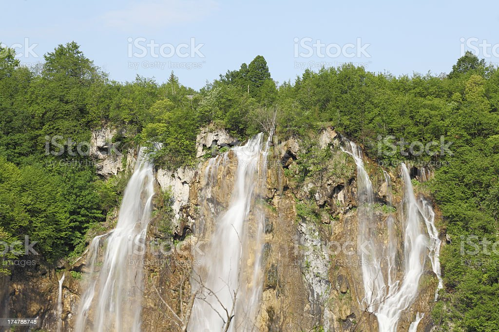 blue sky waterfall in Plitvice Lakes Croatia with streaming water royalty-free stock photo