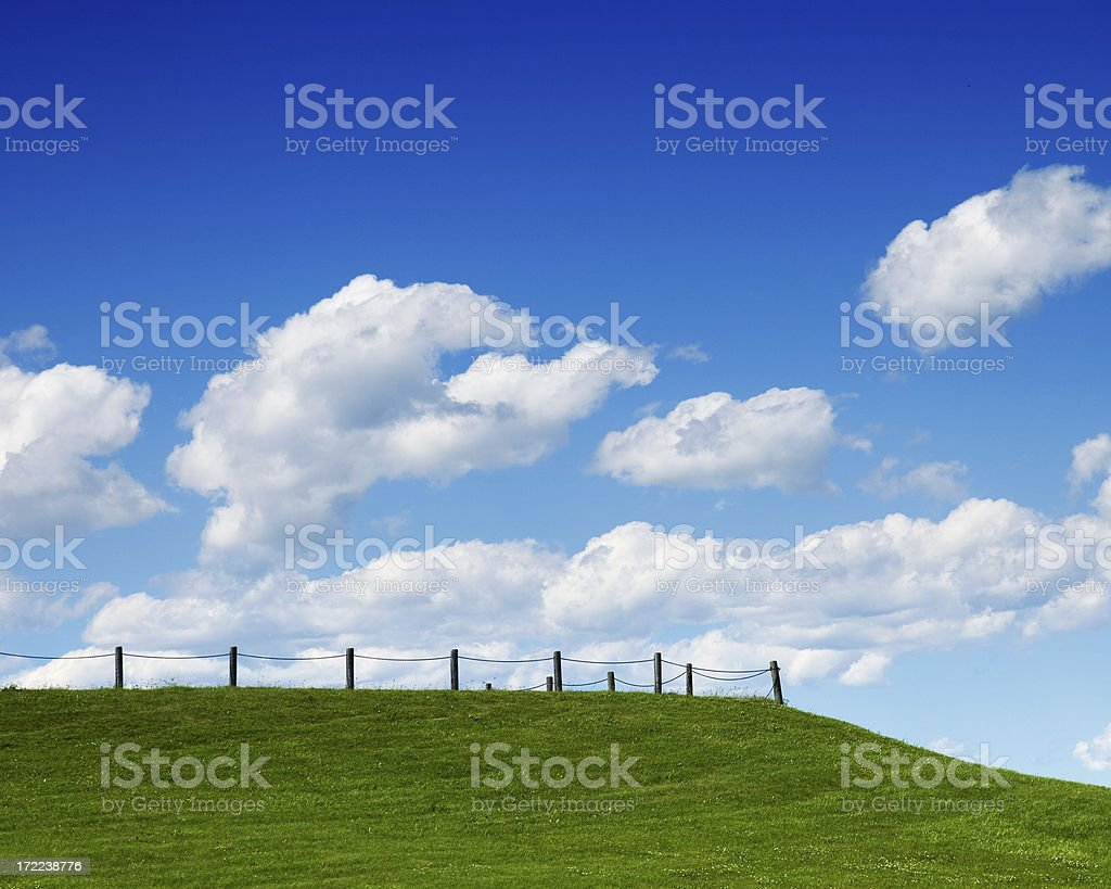 Blue Sky, White Clouds, Green Grass royalty-free stock photo
