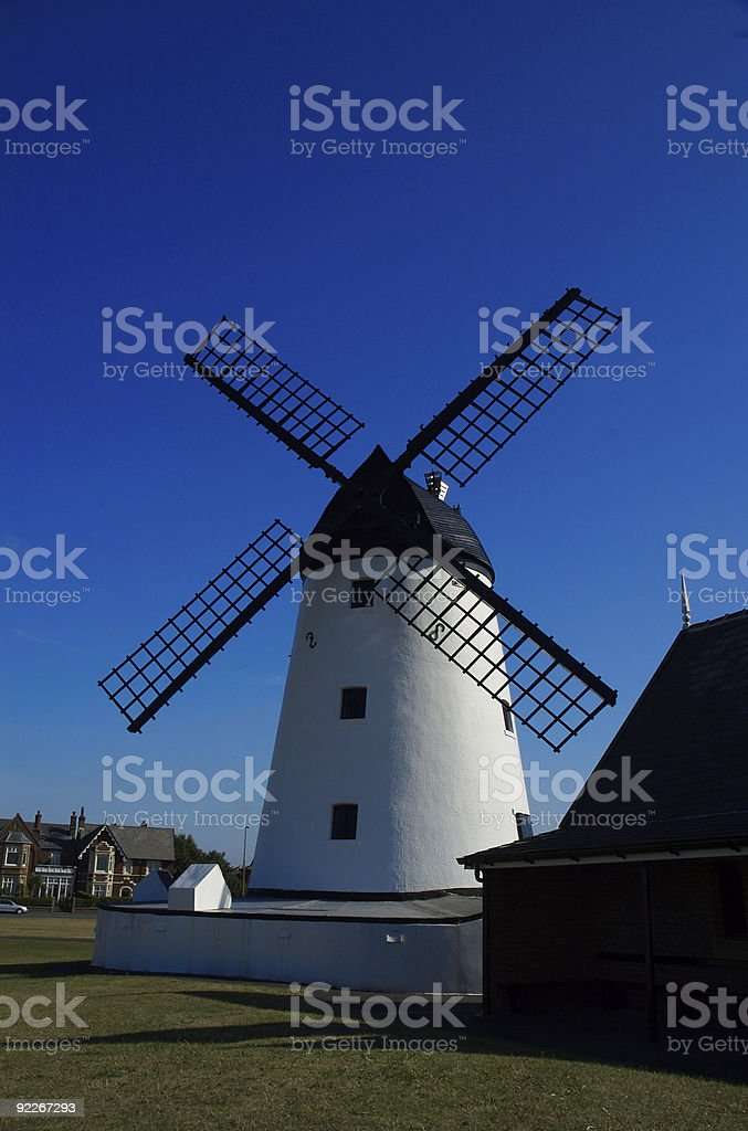 Blue Sky, White Windmill 2 royalty-free stock photo