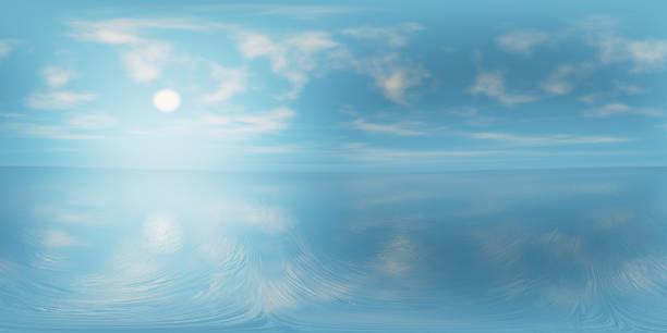 8k: cielo azul con algunas nubes y un sol brillante que se refleja en aguas tranquilas (360 grados hdri mapa renderizado para el entorno de fondo de la naturaleza esférica y panorama equirectangular 3d) - 360 fotografías e imágenes de stock