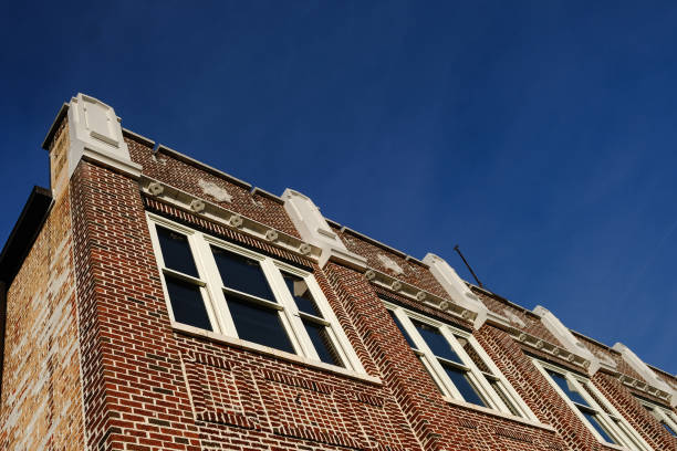 Blue Sky with a Restored Building stock photo
