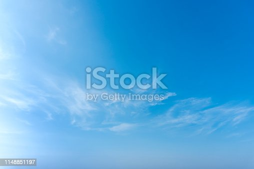 Blue sky with close up white fluffy tiny clouds background and pattern