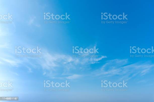Photo of Blue sky with close up white fluffy tiny clouds background and pattern