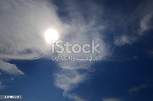 807443942 istock photo Blue sky with cloud on summer 1142853651