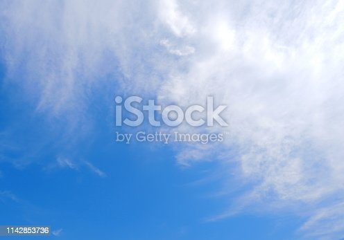 807443942 istock photo Blue sky with cloud on summer 1142853736