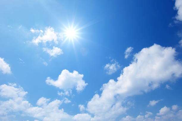 Blue sky with cloud Sun on blue sky with clouds sky blue stock pictures, royalty-free photos & images