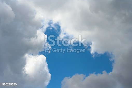 istock blue sky with clouds at the bottom background 985225620