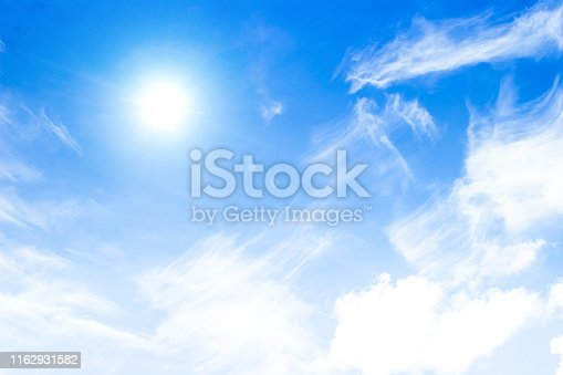 Blue sky with clouds background. Beautiful white fluffy clouds on a light blue sky background. Clearing day and Good weather in the morning. Copy space.