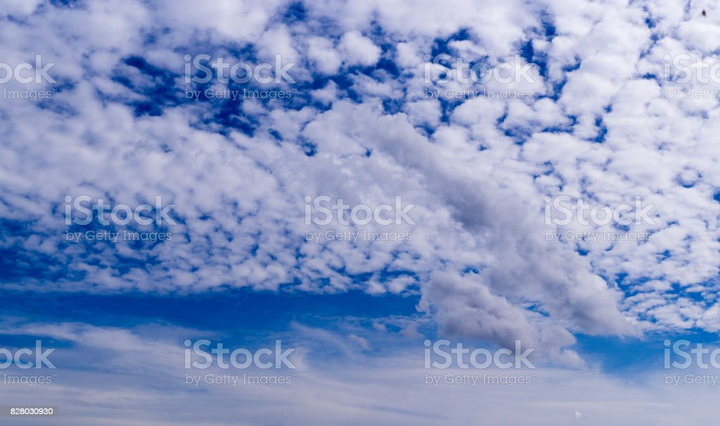 Blue sky with clouds, cirrocumulus, background, nature. stock photo