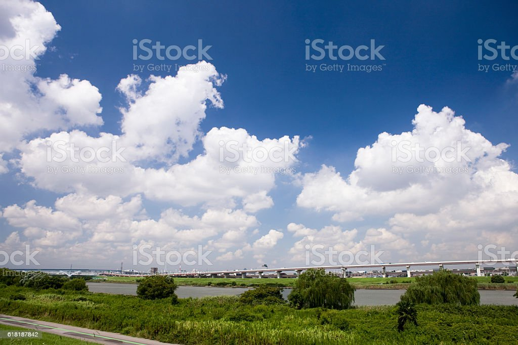 Blue sky with clouds in summer stock photo