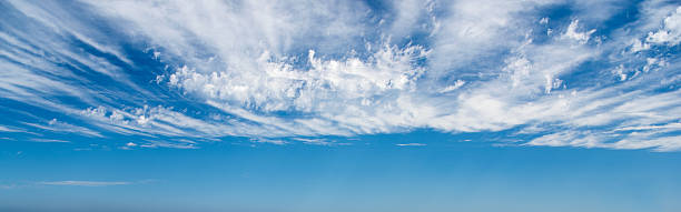 Blue Sky with Clouds Panorama, Background High Quality Sky Panorama. Polarizer Filter. Great Detail. Nikon D810. Converted from RAW. altocumulus stock pictures, royalty-free photos & images