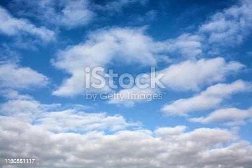 Blauwe hemel met wolken in Nederland