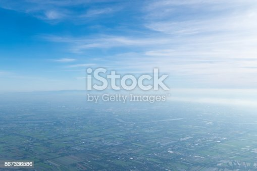 istock Blue sky with clouds Top view from the airplane window, Natural cloudscape for copy space. 867336586