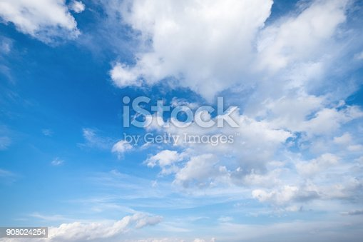 istock Blue sky with clouds Top view from the airplane window, Natural cloudscape for copy space. 908024254