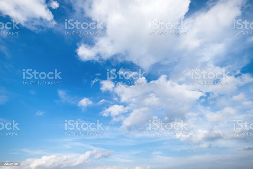 Blue sky with clouds Top view from the airplane window, Natural cloudscape for copy space. stock photo