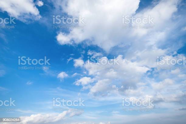 Photo of Blue sky with clouds Top view from the airplane window, Natural cloudscape for copy space.