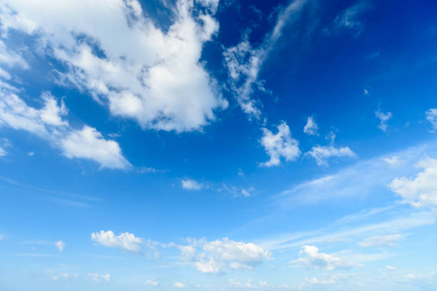 blue sky with cloud,summer sky,nature background - soleggiato foto e immagini stock