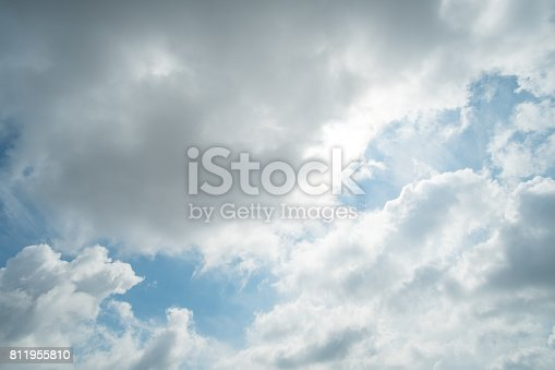 807443942 istock photo Blue sky with fluffy cloud, natural background. 811955810