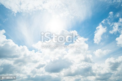 807443942 istock photo Blue sky with fluffy cloud, natural background. 811955874