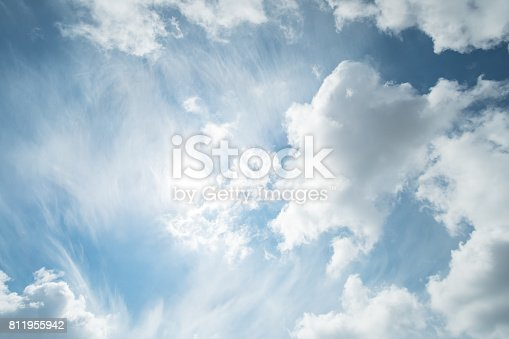 807443942 istock photo Blue sky with fluffy cloud, natural background. 811955942