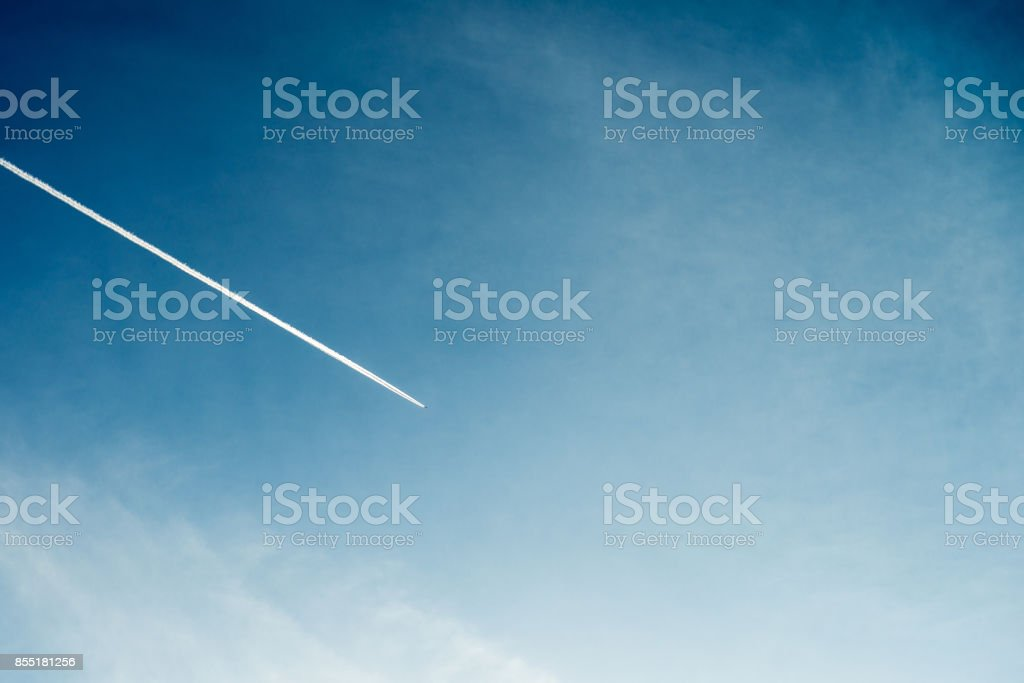 Blue Sky with jetstreme stock photo