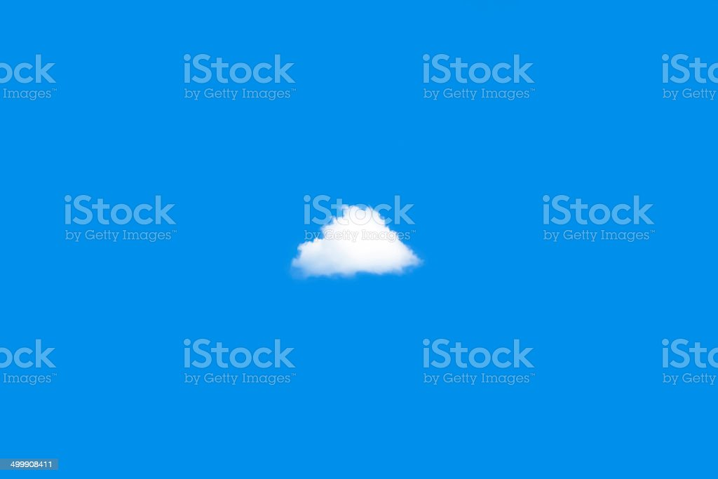 Blue sky with one white cloud in middle, copy space stock photo