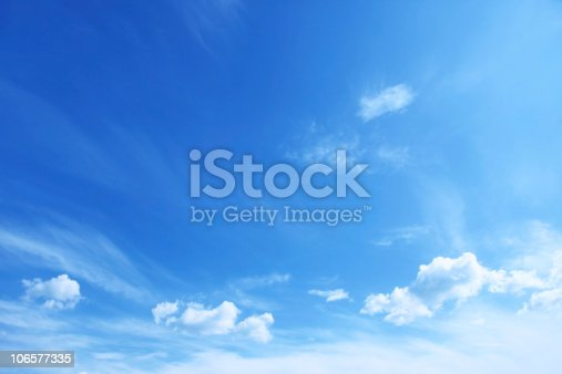 istock Blue sky with scattered clouds 106577335