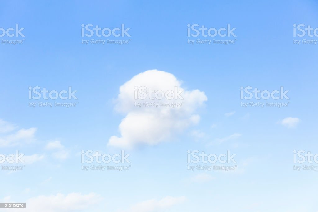 Blue sky with soft white clouds, nature background, copy space stock photo
