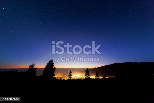 istock Blue sky with stars and trees 481252685