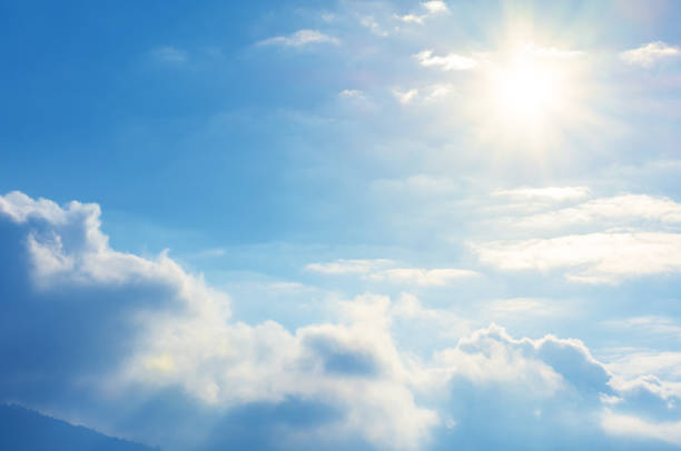blue sky with sun and clouds - cloud sky stock pictures, royalty-free photos & images