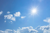 Blue sky with clouds and sun ray