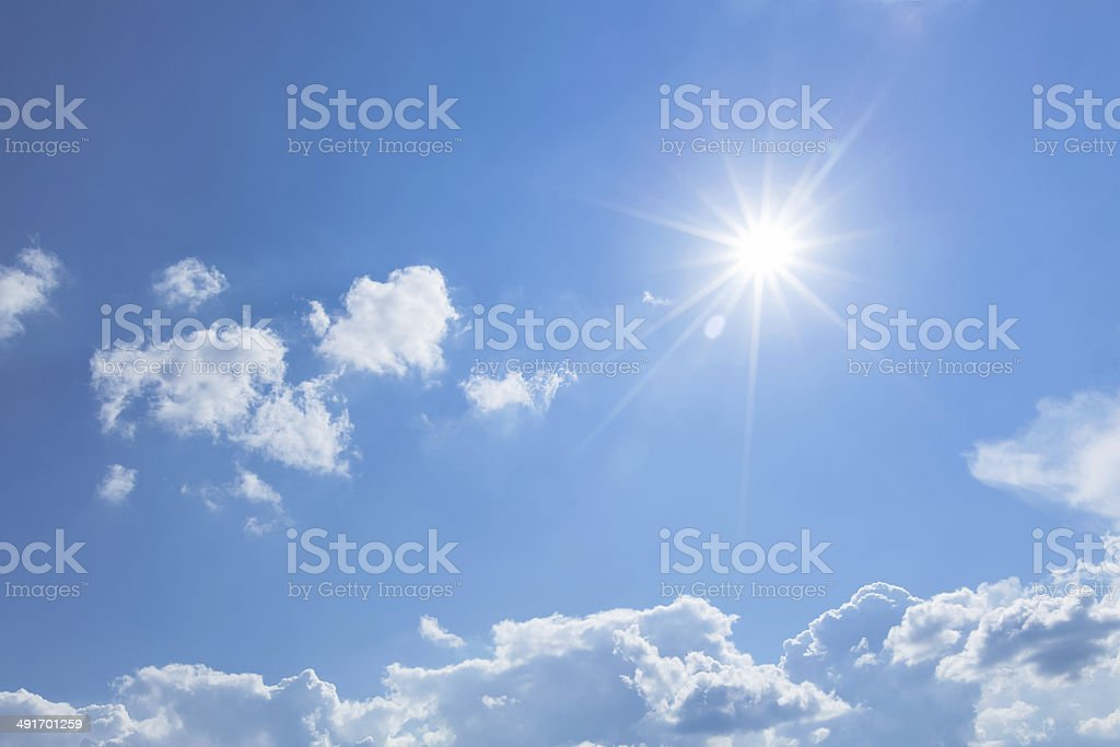 Blue sky with sun stock photo