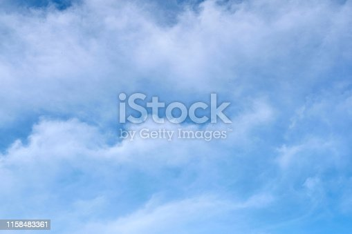 Blue sky with undulating clouds. The background is textured. For any purpose