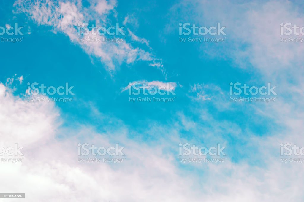 Blue sky with white cloud on day time for background usage. Abstract sky for backdrop. stock photo