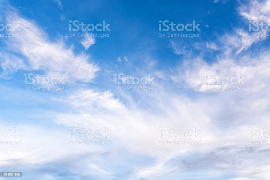 Blue sky with white cloud. stock photo