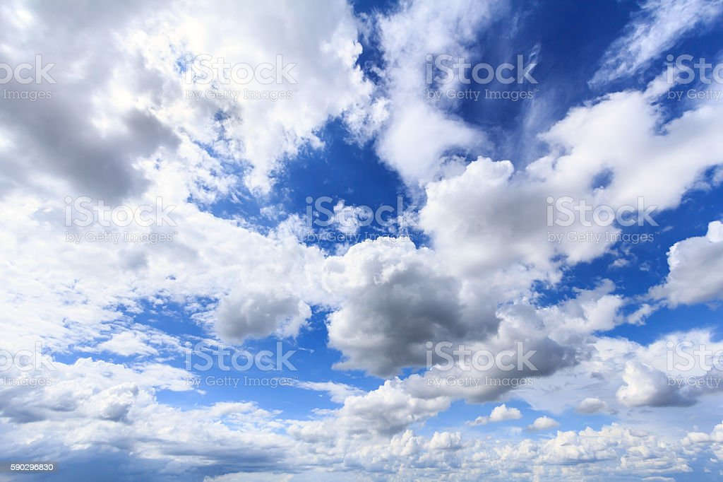 Blue sky with white clouds and rain clouds. royaltyfri bildbanksbilder
