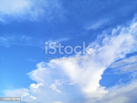 istock blue sky with white clouds background, appropriate the background , idea for copy space. 1209276759