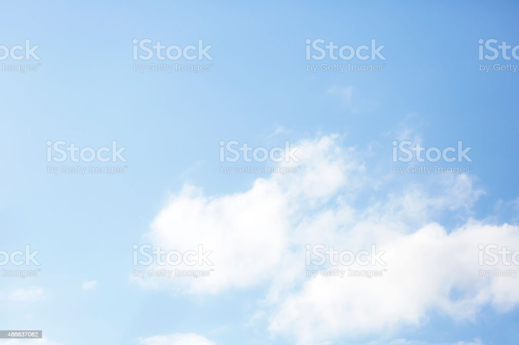 Blue sky with white clouds, beautiful nature background, copy space stock photo