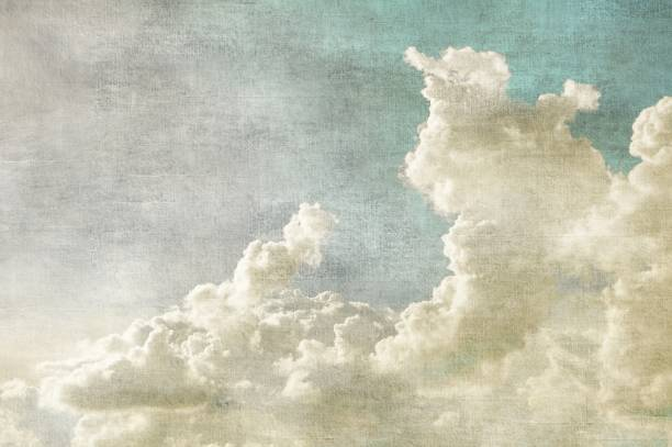 blue sky with white clouds in retro grunge style. nature background. - malarstwo zdjęcia i obrazy z banku zdjęć