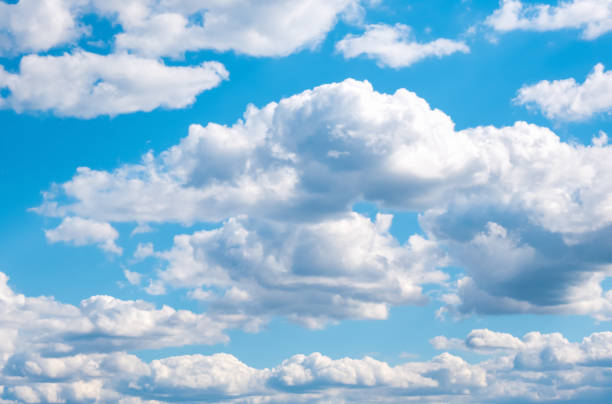 blue sky with white clouds nature background - clouds imagens e fotografias de stock