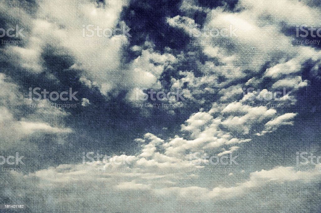 Blue sky with  white puffy clouds royalty-free stock photo