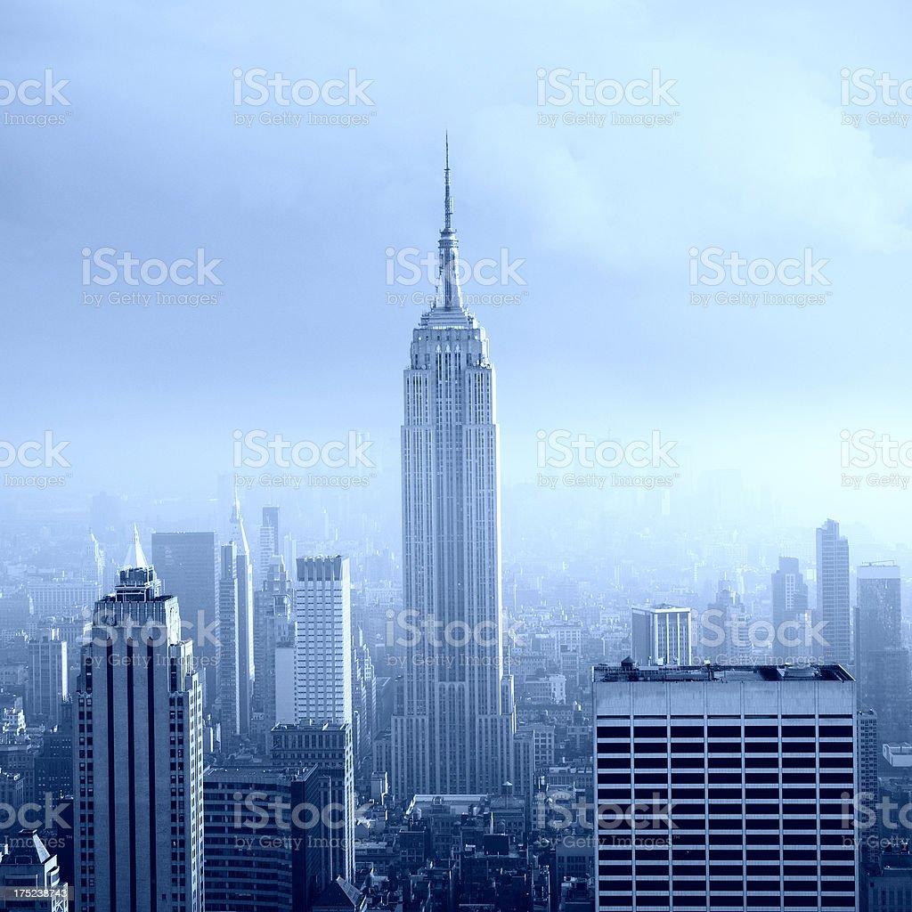 NYC Blue Skyline at Sunset royalty-free stock photo