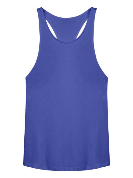 Blue sleeveless camisole isolated on white Blue sleeveless camisole isolated on white tank top stock pictures, royalty-free photos & images
