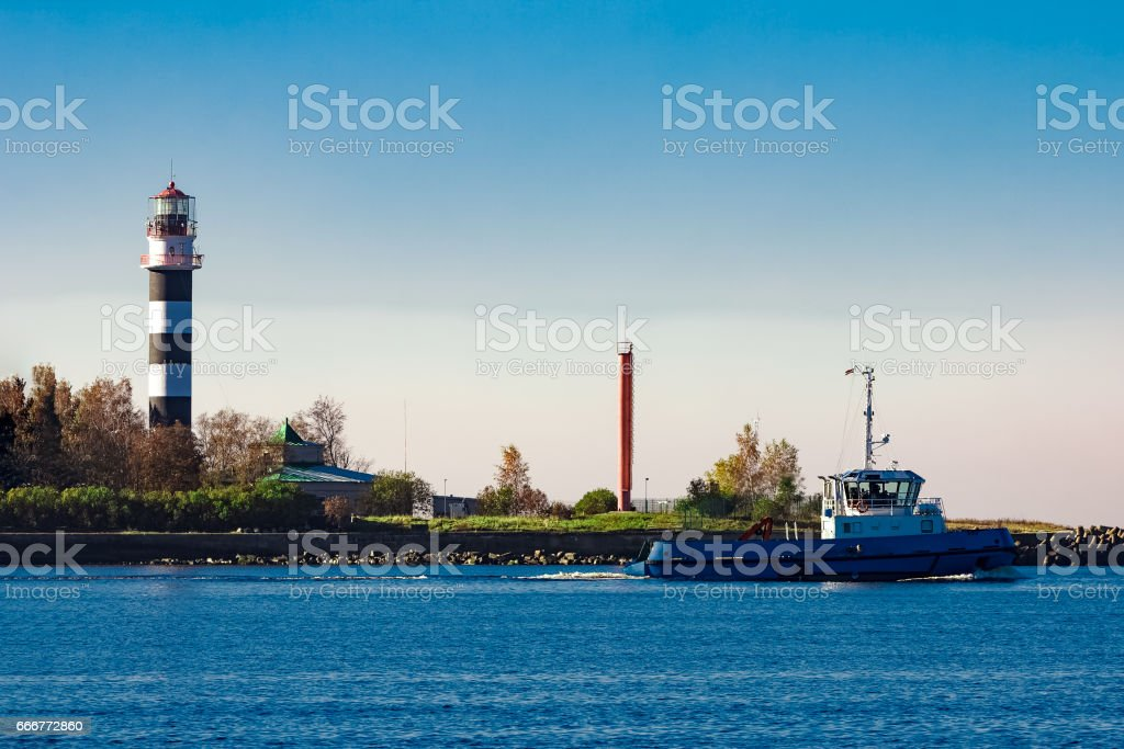 Blue small tug ship foto stock royalty-free